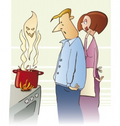 surprised family boiling toxic soup vector image vector image