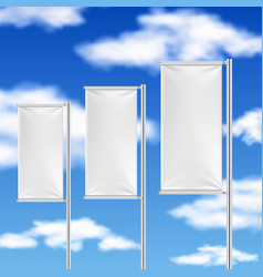 White flags and blue sky beach event advertising vector