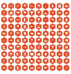 100 clouds icons hexagon orange vector