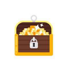 Flat style of treasure chest vector