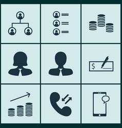 Set of 9 hr icons includes bank payment cellular vector