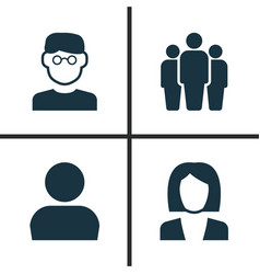 Human icons set collection of user businesswoman vector