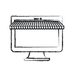Monochrome blurred silhouette of desktop computer vector