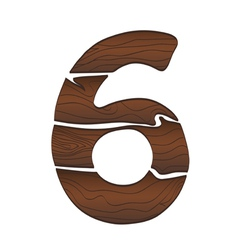 Wood numbers 6 isolated on the white vector