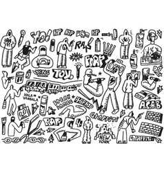 Raphip hop graffiti - doodles set vector