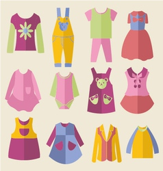 Set with collection of childrens clothing vector