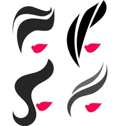 Woman face and hair icon vector