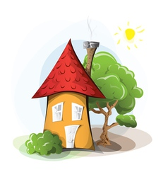 Cartoon house with tree vector