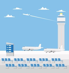 Flat design of airport with nice sky vector