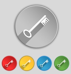 Key icon sign symbol on five flat buttons vector