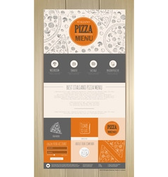 Sketch pizza concept web site design vector