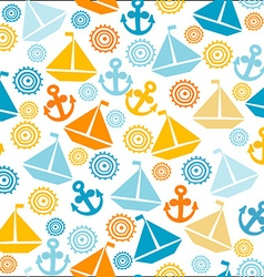 Cartoon seamless pattern with sail boats anchors vector