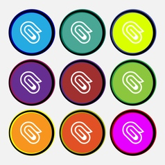 Paper clip icon sign nine multi colored round vector