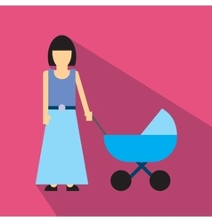 Mother with baby carriage flat icon vector