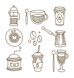 Coffee elements handdrawn set vector