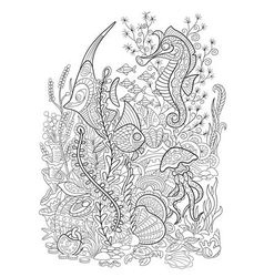 Ocean animals collection vector image