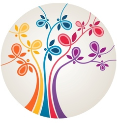 Multicolor abstract tree vector
