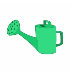 Green watering can icon cartoon style vector