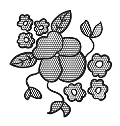 Black lace flower applique vector