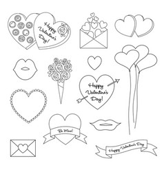 black outline valentines day clipart vector image