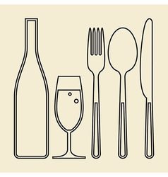 Bottle glass of champagne fork knife and spoon vector image