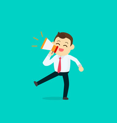 businessman happy with megaphone vector image vector image