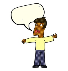 cartoon frightened man with speech bubble vector image