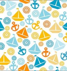 Cartoon seamless pattern with sail boats anchors vector image