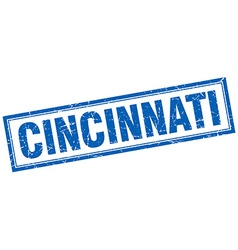 Cincinnati blue square grunge stamp on white vector