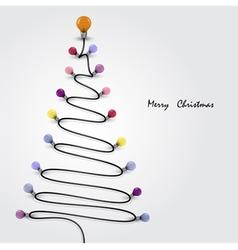 Colorful light bulbs and Christmas tree symbol vector image
