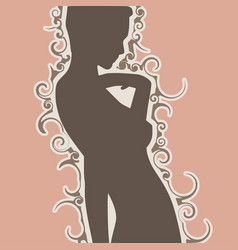 Confused woman silhouette vector