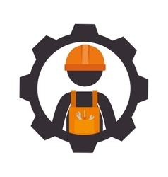 Construction signal worker icon vector