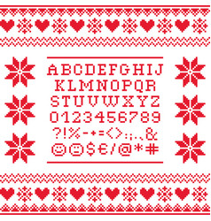 Cross stitch uppercase alphabet with numbers vector