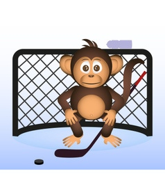 Cute chimpanzee playing ice hockey sport little vector