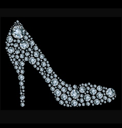 diamond high heel shoe vector image vector image