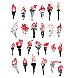 Flaming torches with red flames vector image vector image