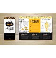 Fried fish restaurant menu concept design vector