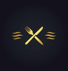 Gold fork knife food logo vector