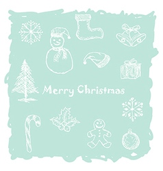 hand drawn of white christmas icons elements in vector image