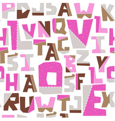 hand lubberly cut pink alphabet seamless vector image