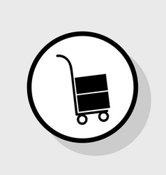 Hand truck sign flat black icon in white vector