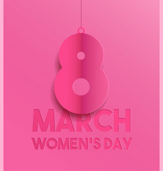 happy womens day pink paper cut greeting card vector image vector image