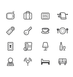 hotel element black icon set on white background vector image