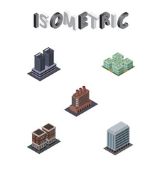 Isometric architecture set of house clinic tower vector