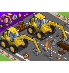 Isometric yellow excavator in front view vector