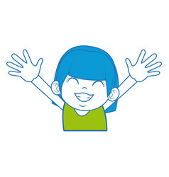 little girl happy with face expression cartoon vector image