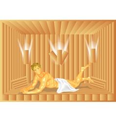 Man in sauna vector