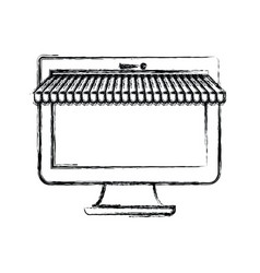 Monochrome blurred silhouette of desktop computer vector