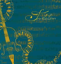 Music invitation with contrabass and keyboards vector