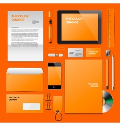 Orange corporate id mockup vector